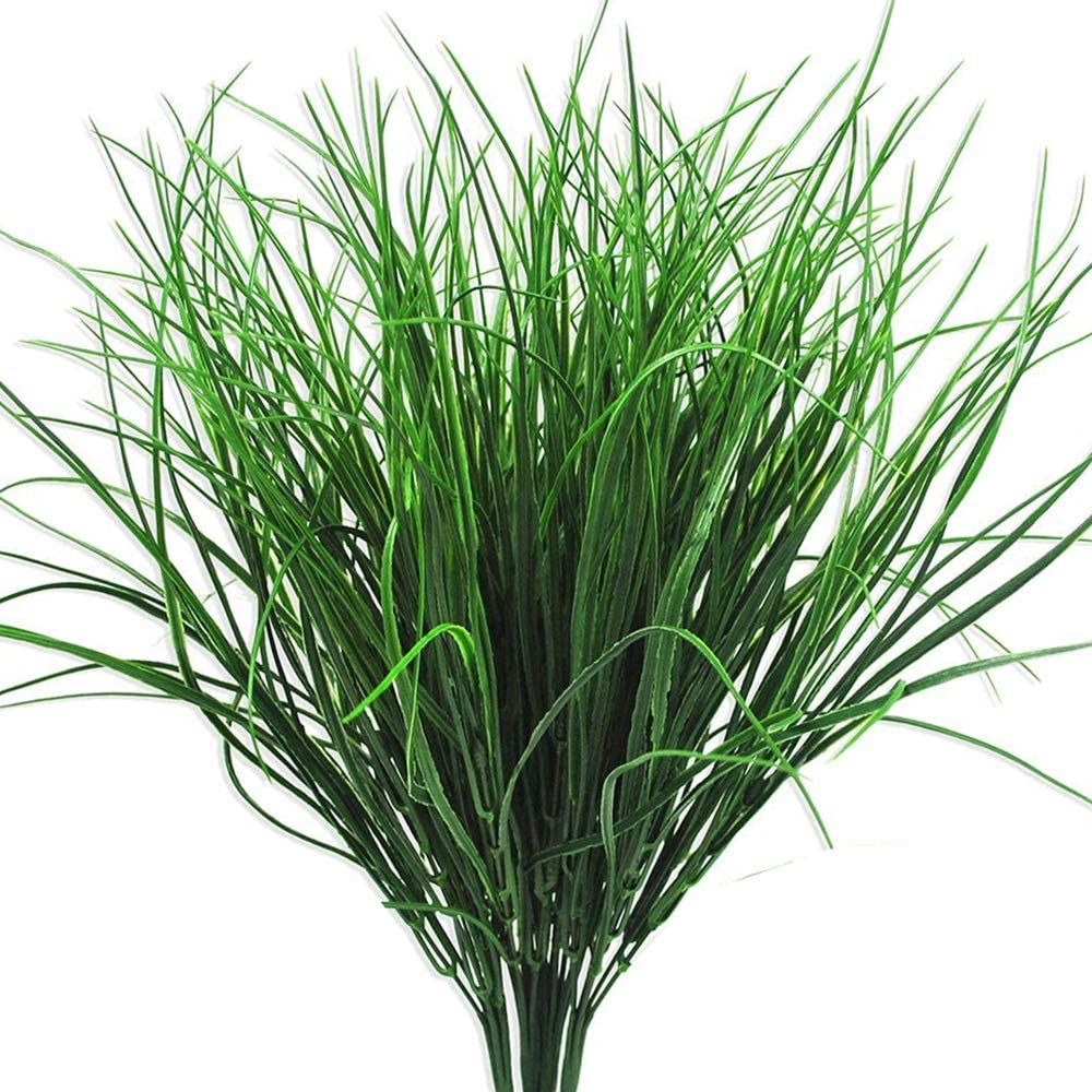 4 Pcs Artificial Plants Outdoor Flowers Faux Plastic Wheat Grass UV Resistant Greenery Shrubs Bushes Potted Plant for Indoor Outside Planter Home Garden Office Wedding Party Decor (16.5