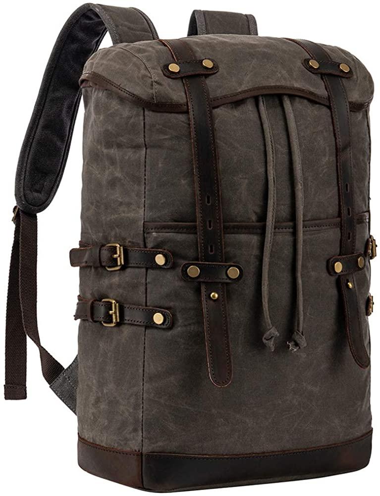 Vintage Waterproof CanvasTravel Laptop Backpack, Outdoor Rucksack, School backpack Hiking backpack Fits 17