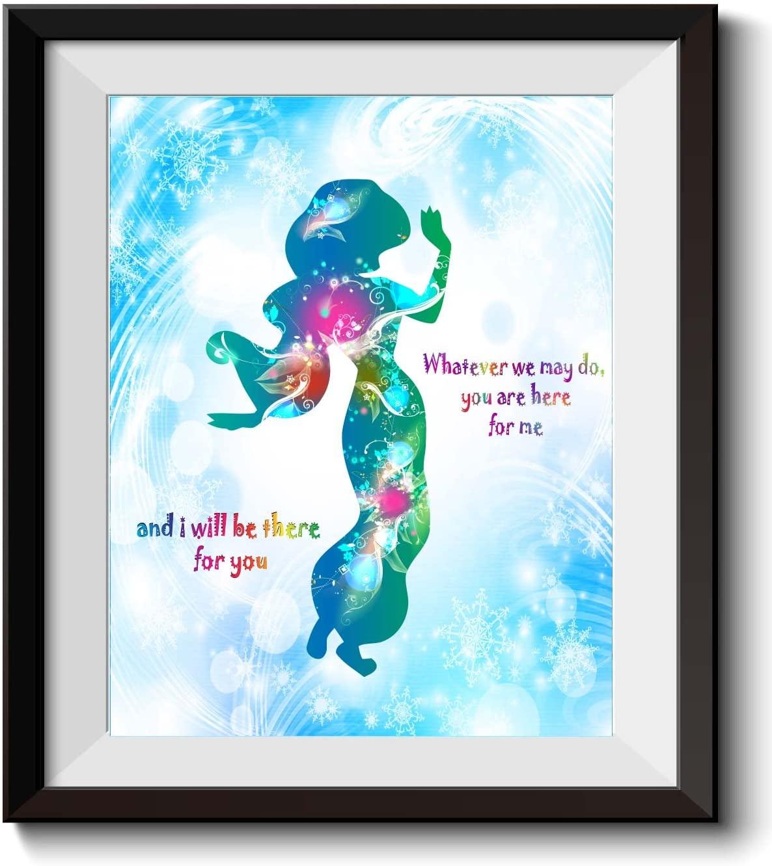 Uhomate Princess Jasmine and Aladdin and JasmineHome Canvas Prints Wall Art Anniversary Gifts Baby Gift Inspirational Quotes Wall Decor Living Room Bedroom Bathroom Artwork C013 (8X10)