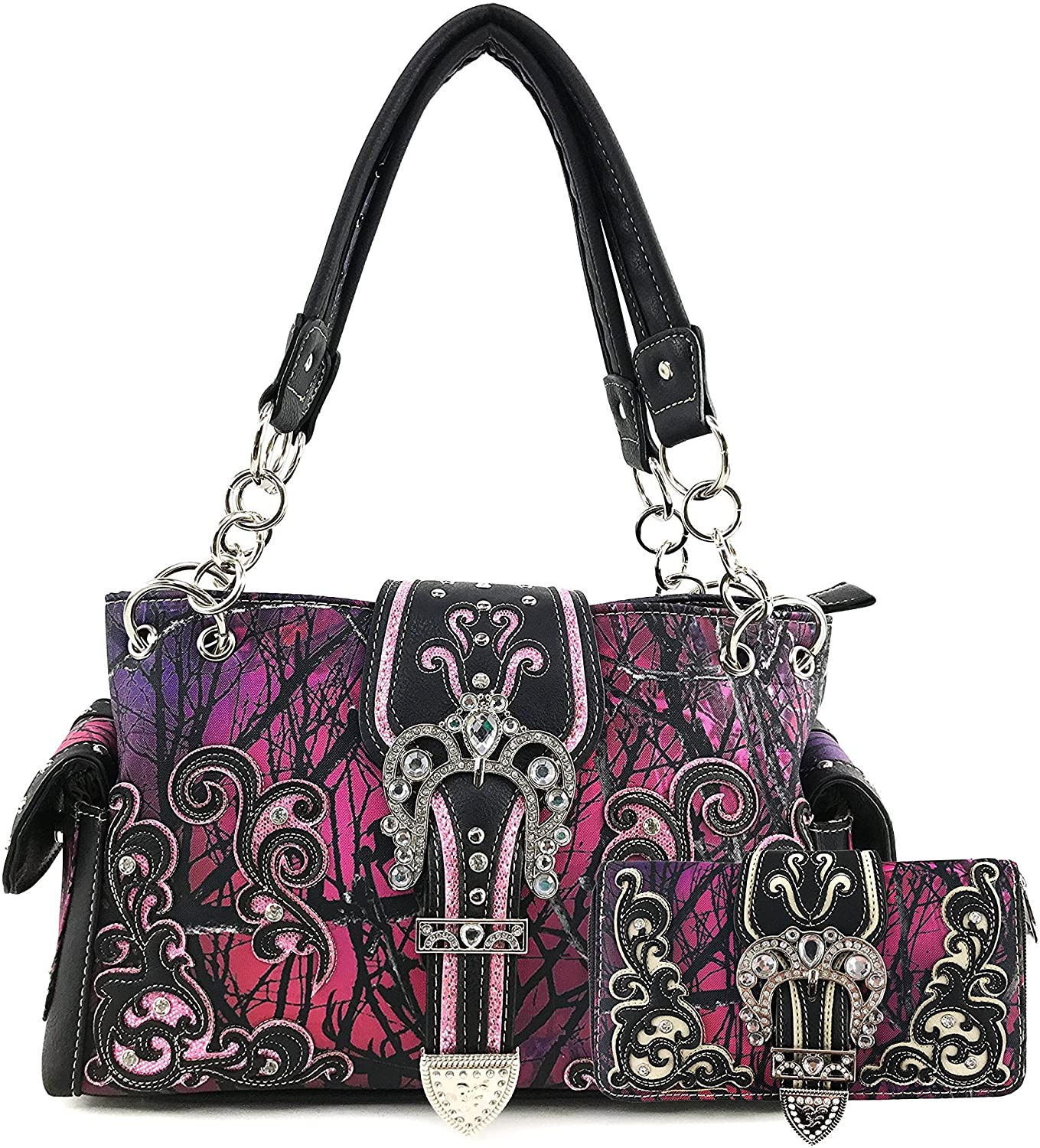 Justin West Camouflage Tree Branches Bling Rhinestone Cross Wings Buckle Crossbody Chain Messenger and Purse