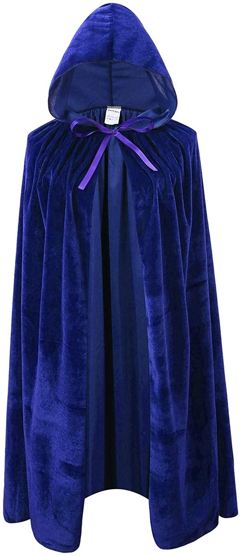 Ourlove Fashion Kids Velvet Cape Cloak with Hood Unisex-Child Cosplay Halloween Christmas Costume (100cm/39.4inch, Blue)