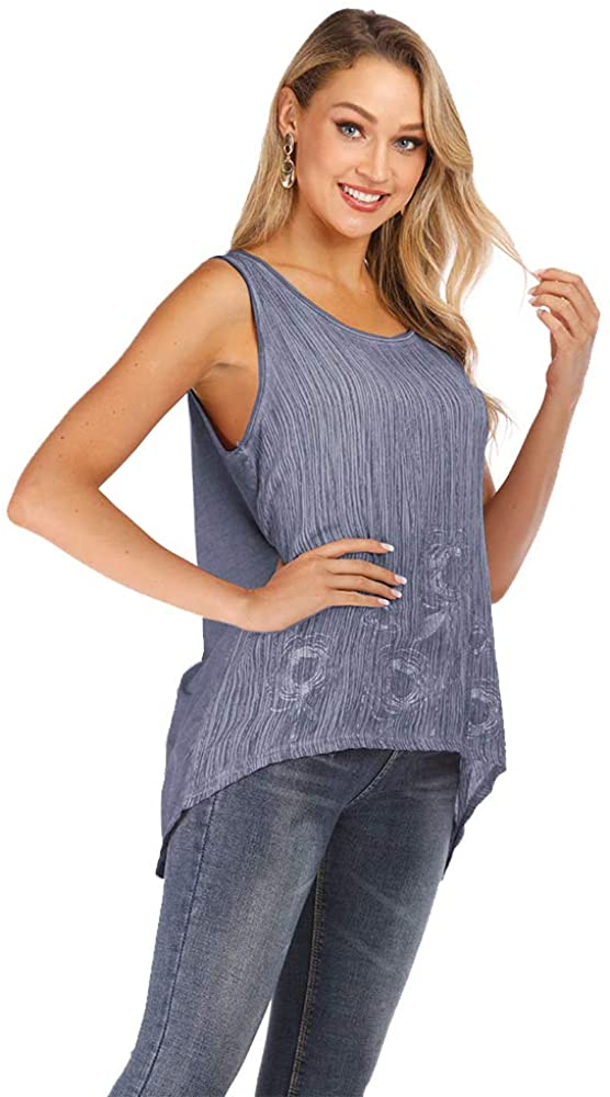 GONGYING Summer Women's Vest T-Shirt Bead Piece Patchwork Ironing Silver Casual Loose top Blouse