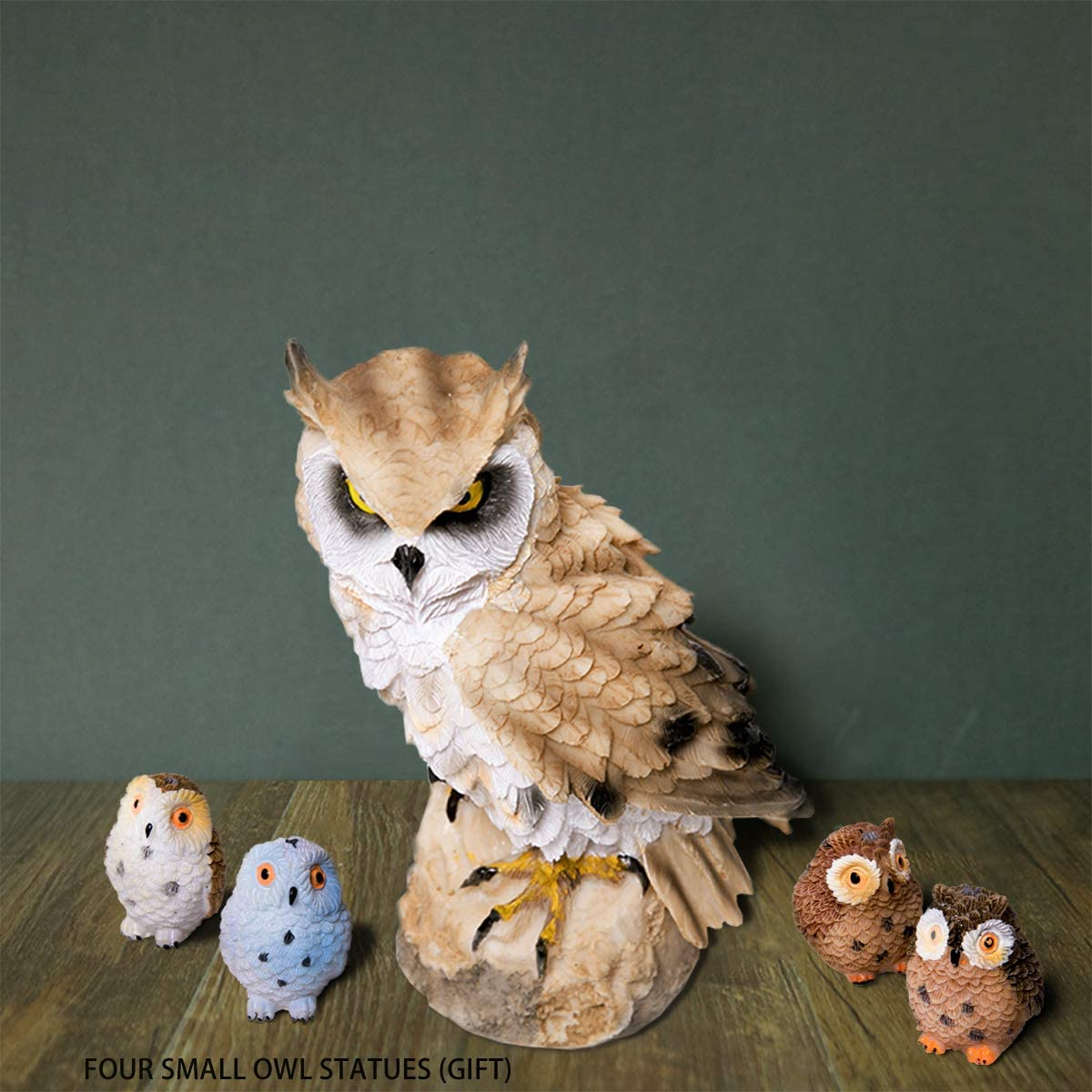 CYL& A Set of Resin Owl Statues, Garden Owl for Patio Lawn Yard Indoor Office Decoration, Total of Five