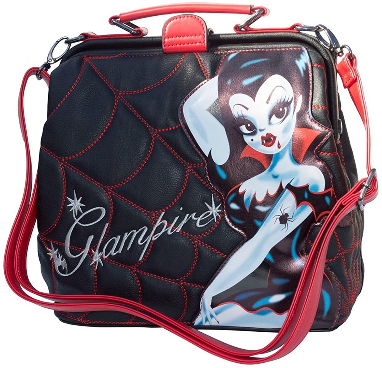 Kreepsville Glampire Miss Fluff Vampire Spider Web Crossbody Shoulder Bag Purse, Black, Medium
