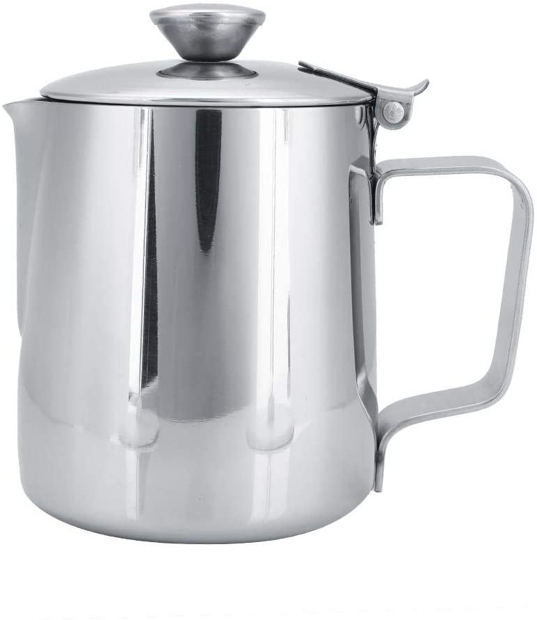 Frothing Cup, Stainless Steel Coffee Cup Mug Milk Frothing Pitcher Jug with Lid for Latte Coffee Art(250ml)