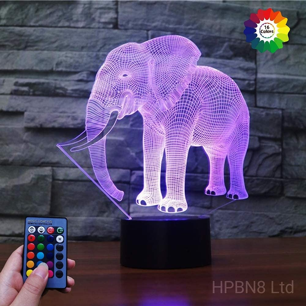 HPBN8 Ltd 3D Elephant Night Light Lamp USB Powered Touch Switch Remote Control LED Decor Optical Illusion 3D Lamp 7/16 Colors Changing Xmas Brithday Children Kids Toy Christmas Gift