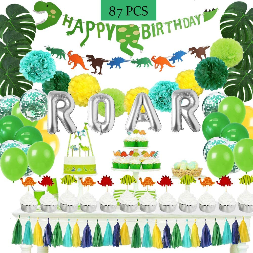 WOOACME 87pcs Dinosaur Party Decorations, Perfect Birthday Backdrop Decoration for Boys Dinosaur Party Supplies