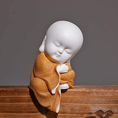 Kingzhuo White Ceramic Little Cute Buddha Statue Monk Figurine Creative Baby Crafts Dolls Ornaments Gift Classic Chinese Delicate Ceramic Arts and Crafts Tea Accessories 4'' Inches (5 x 10 cm Orange)