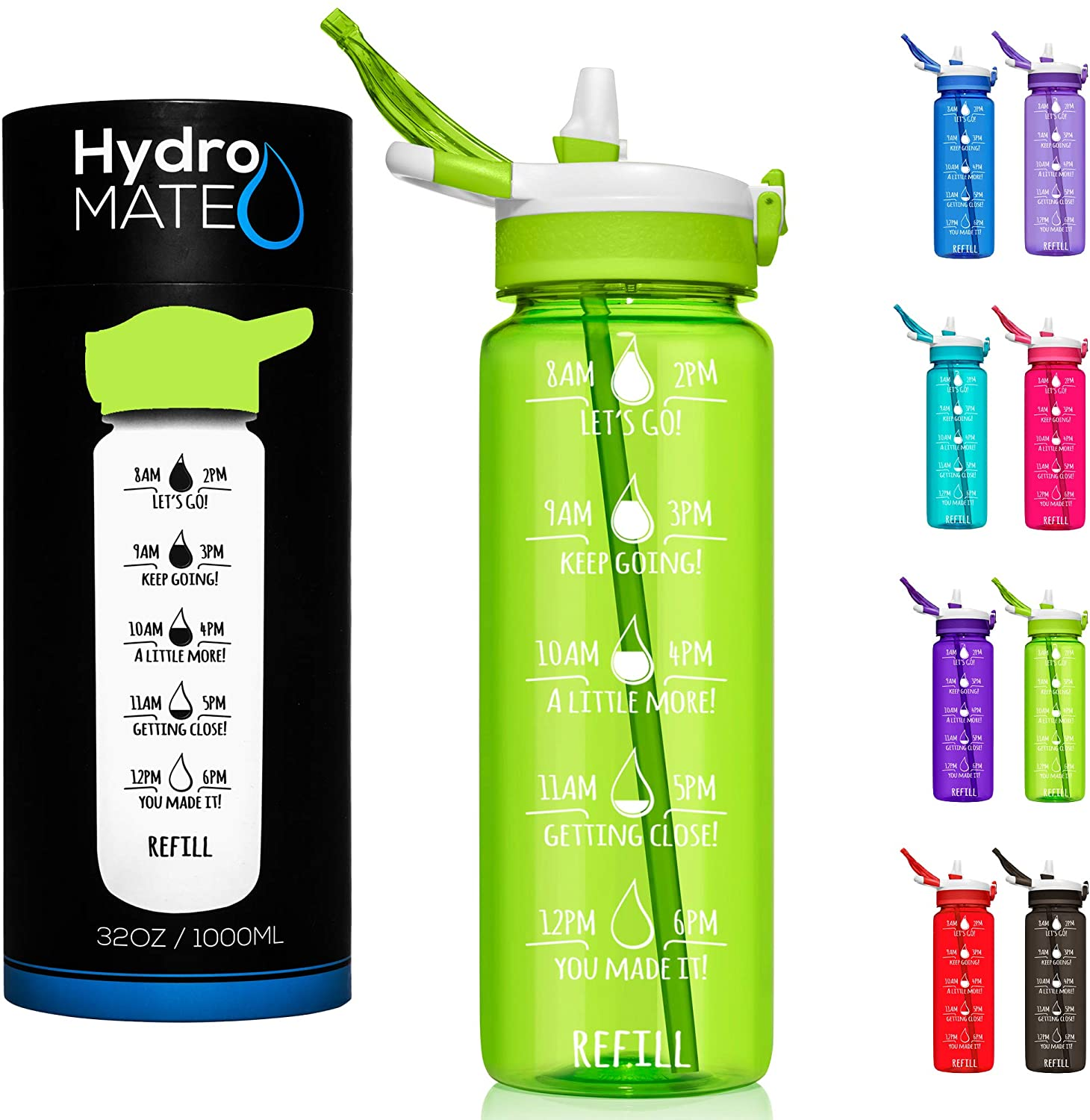 HydroMATE 32 oz Motivational Water Bottle with Time Markers with Straw BPA Free Workout Gym Fitness Bottle Times to Drink Measurements Track Intake Hydro MATE 1 Liter 32oz