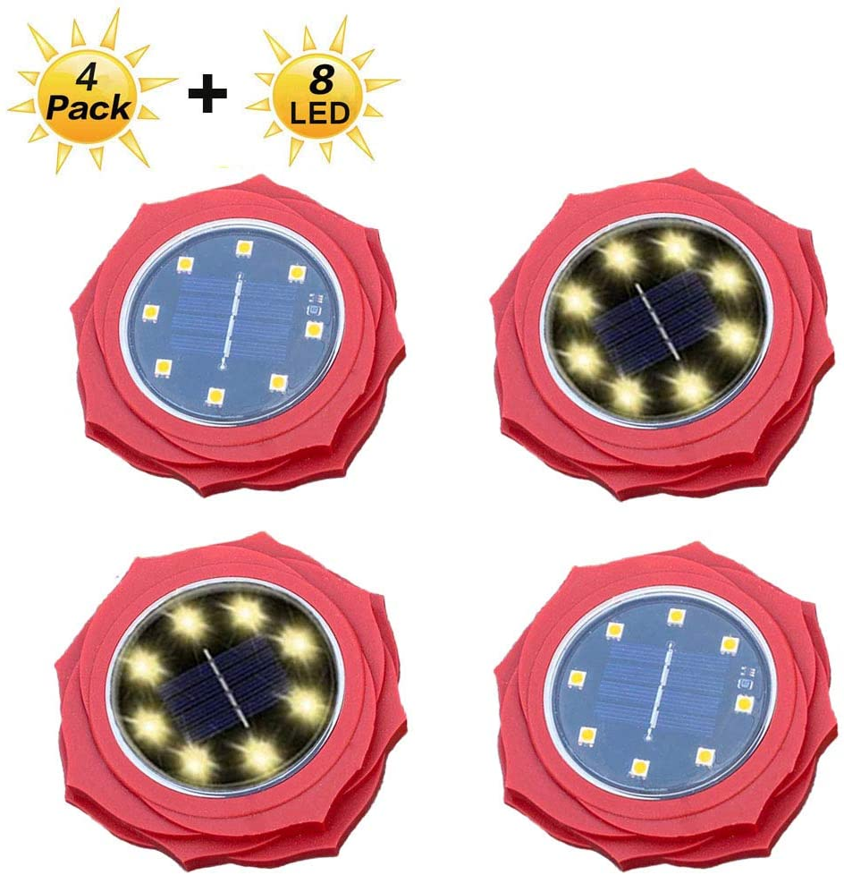 Flower Solar Ground Lights,Warm Solar Pathway Lights 8 LED Waterproof Outdoor Garden Lights Solar Lights Outdoor for Garden Yard Walkway Pool,Auto On/Off (4 Pack) (Warm -Rose)