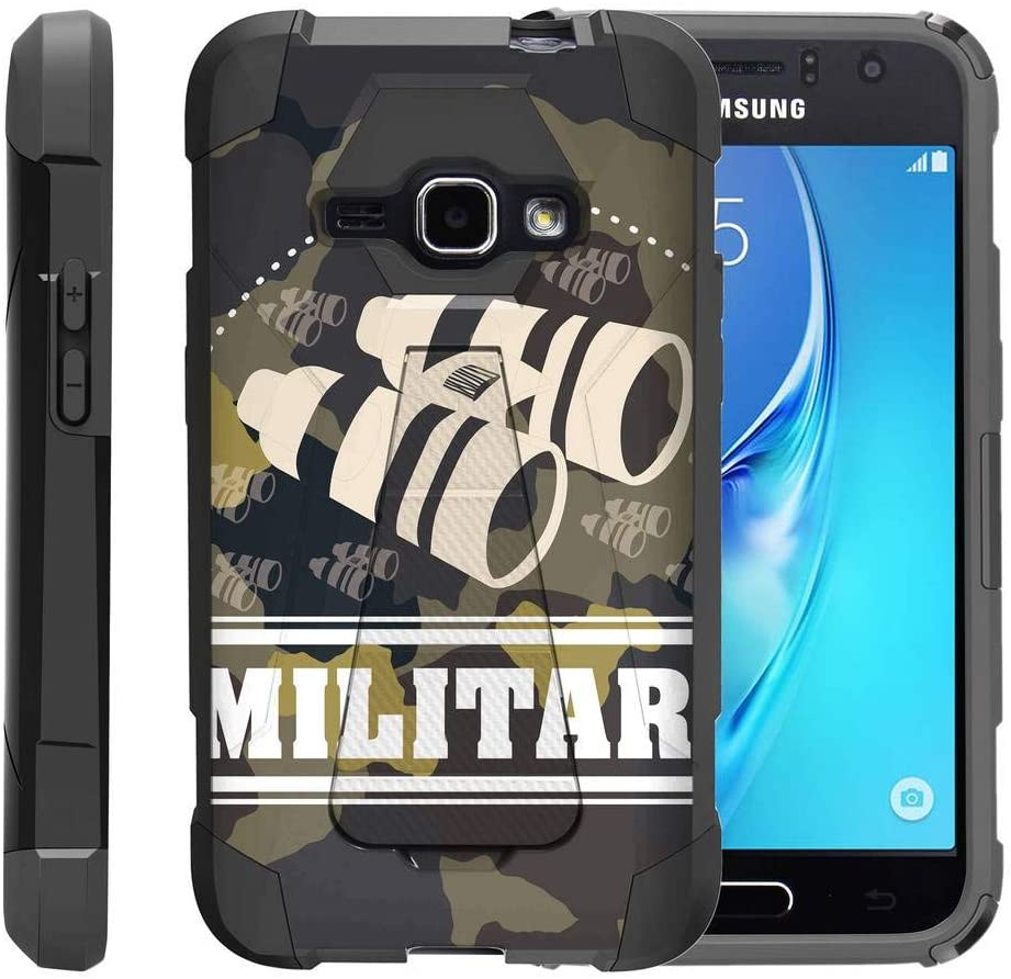 TurtleArmor | Compatible with Samsung Galaxy J1 Case J120 (2016) [Dynamic Shell] Dual Layer Hybrid Kickstand Absorber Silicone Cover War and Military - Military Binoculars