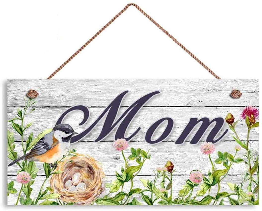 MAIYUAN Handmade Sign with Mom. Shabby Wood Style with Bird, Nest, and Flowers,Shabby Chic Decor(WE1131)