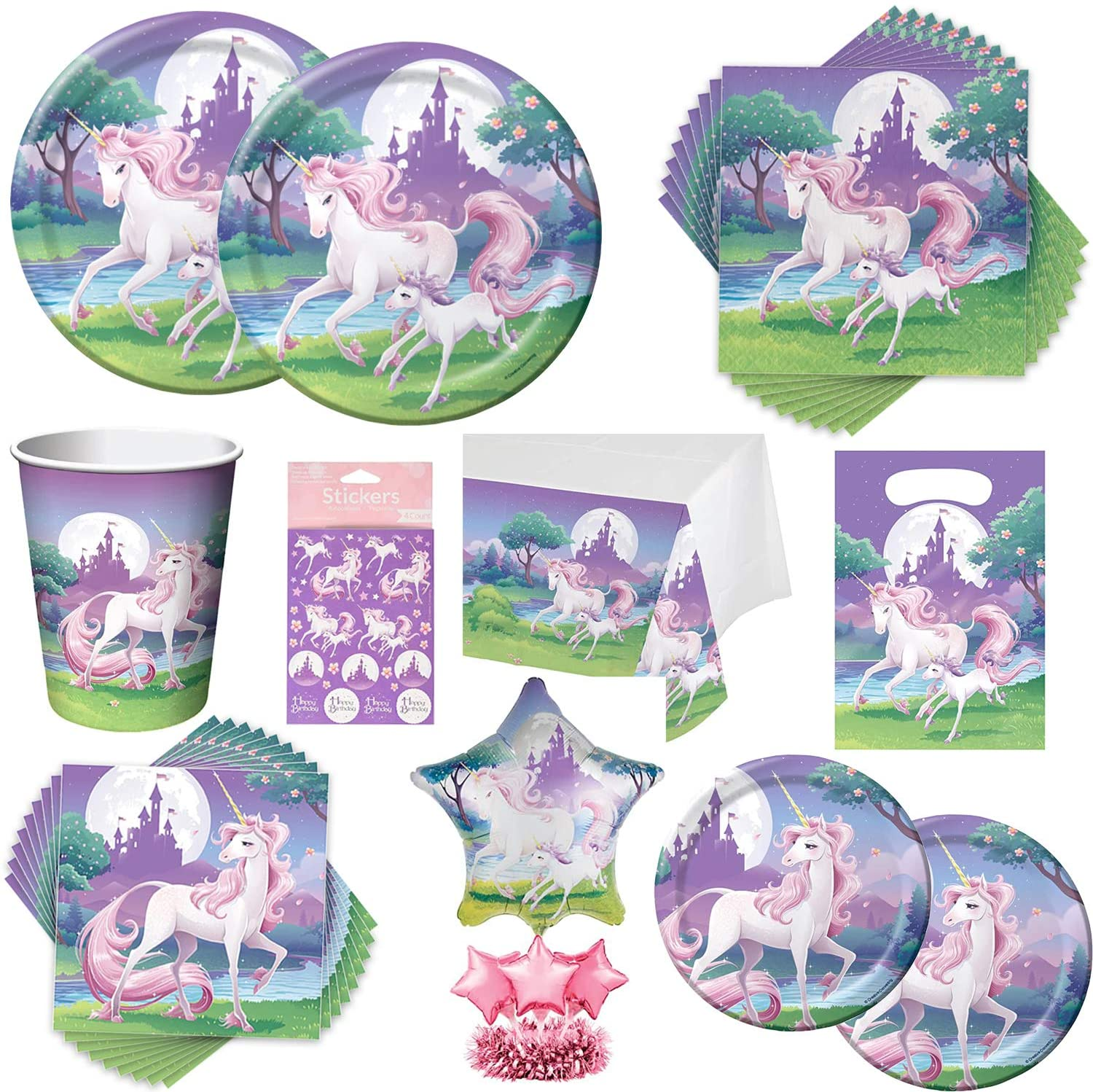 Unicorn Party Supplies Unicorn Fantasy Birthday Party with Plates, Napkins, Cups, Table Cover, Stickers, Treat Bags & Balloon Center Piece for 16 Guests