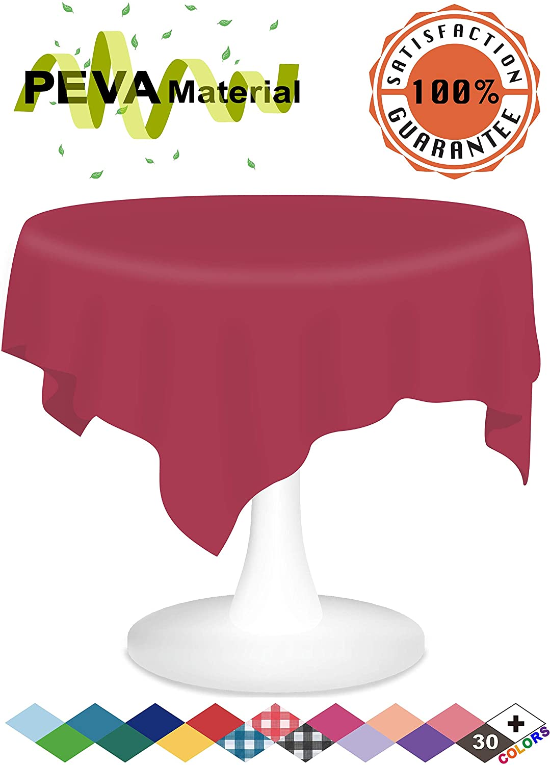 Burgundy Plastic Tablecloths 3 Pack Disposable Table Covers 84 Inches Circle Shower Party Tablecovers PEVA Vinyl Table Cloths for Round Tables up to 6 ft and Picnic BBQ Birthday Wedding Banquet