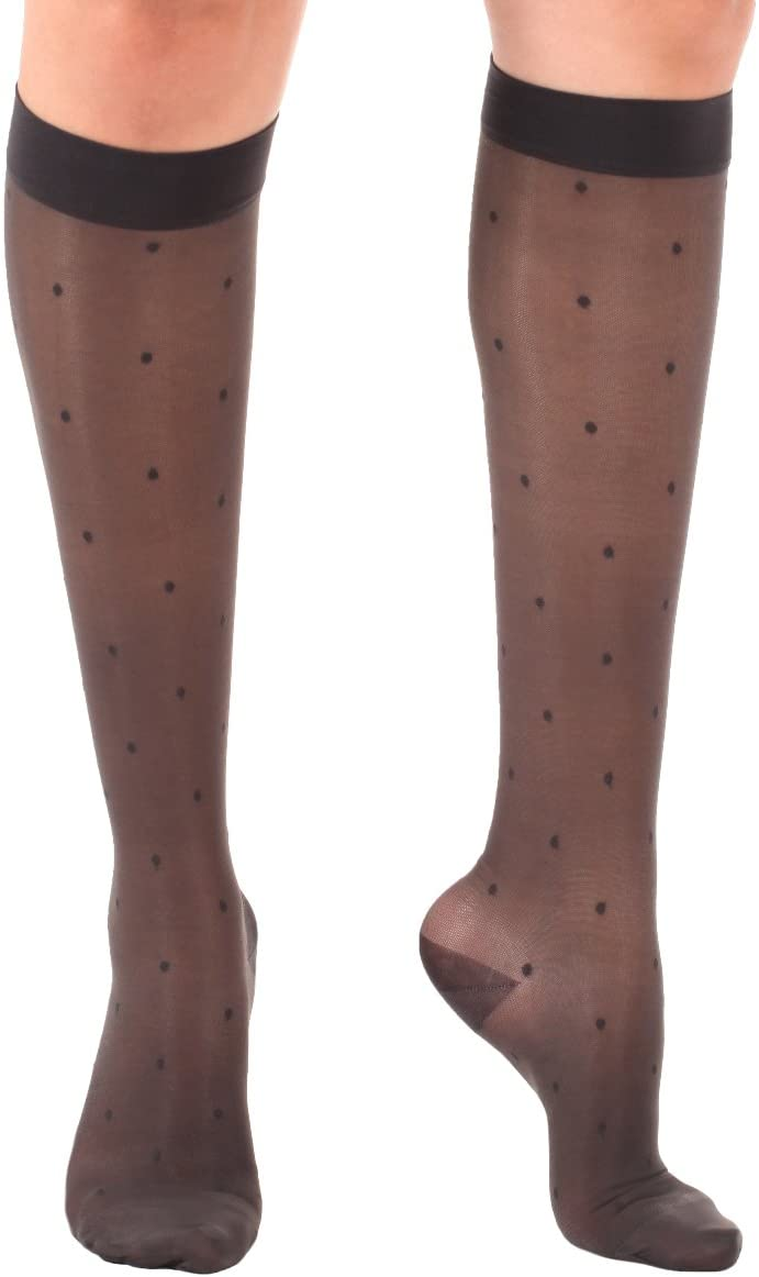 Sheer Dotted Woman's Knee-Hi Medium Support 15-20 mmHg-Charcoal Medium- Absolute Support - Made in USA-