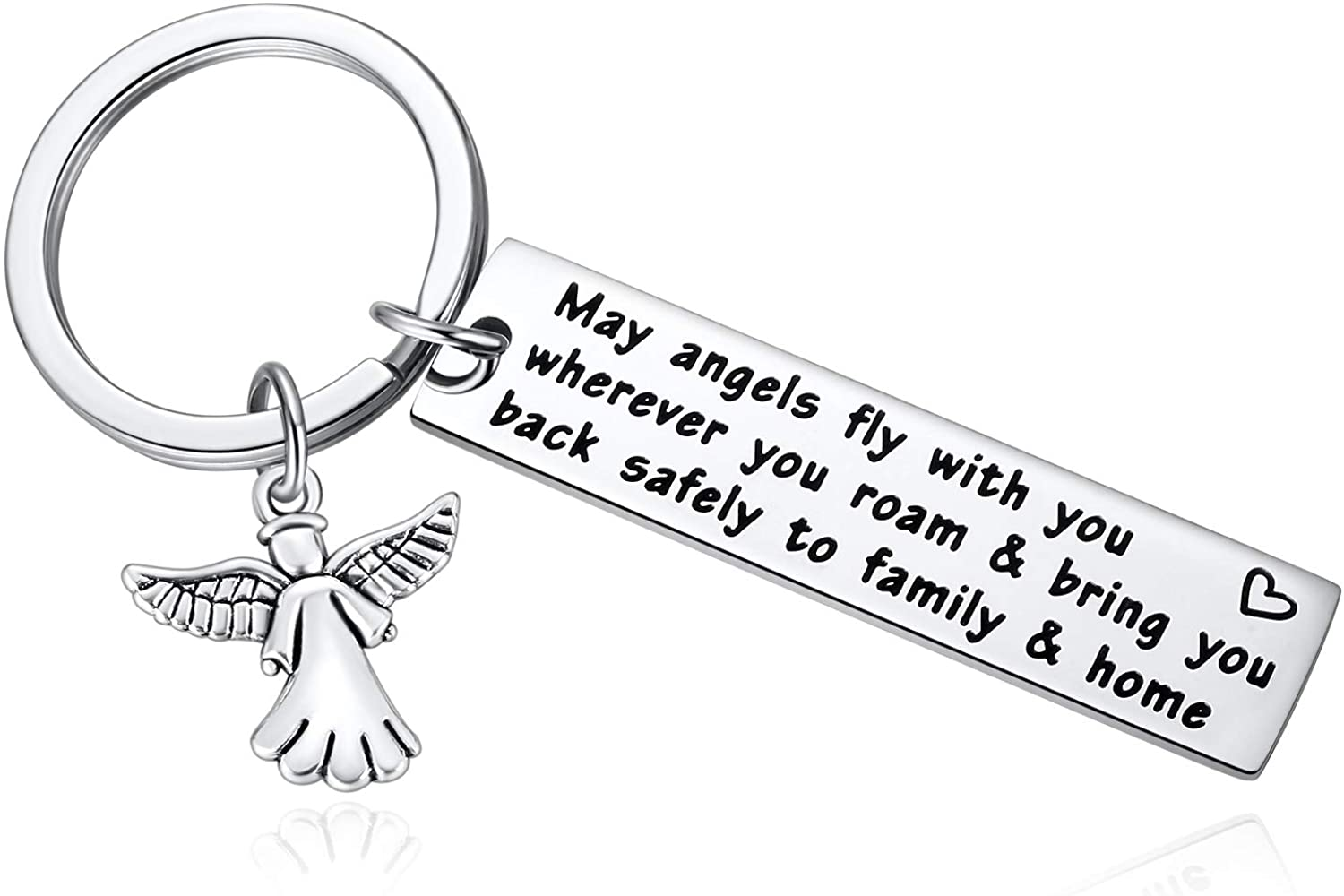 World Traveller Key Chain Gift for Flight Attendant, Pilot, Astronauts, Boyfriend, Girlfriend - May Angels Fly with You Wherever You Roam