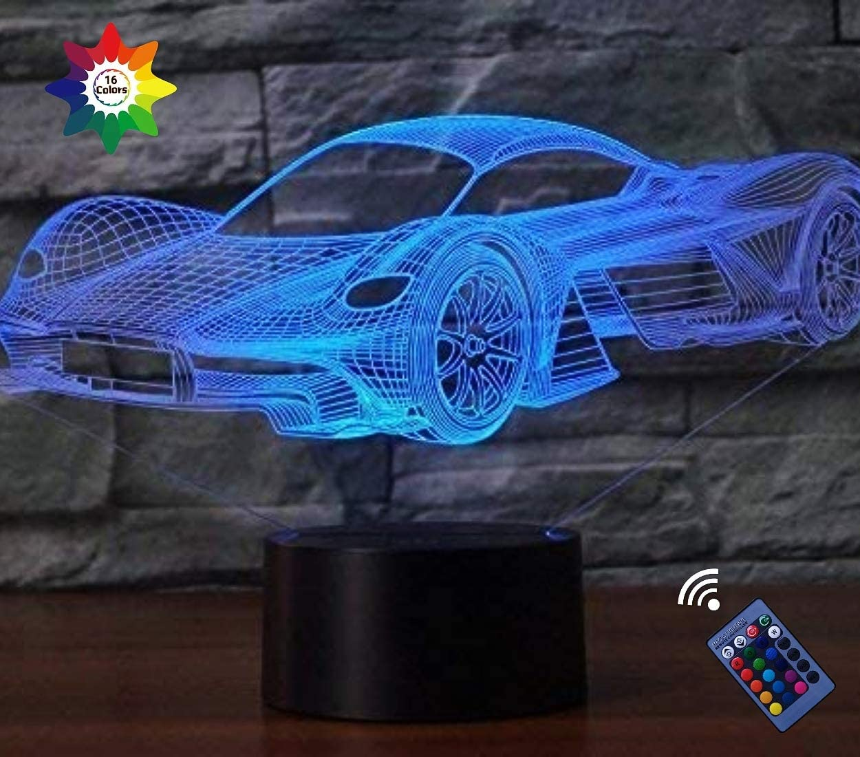Optical Illusion 3D Car Night Light 16 Colors Changing USB Power Remote Control Touch Switch Decor Lamp LED Table Desk Lamp Children Kids Christmas Xmas Brithday Gift
