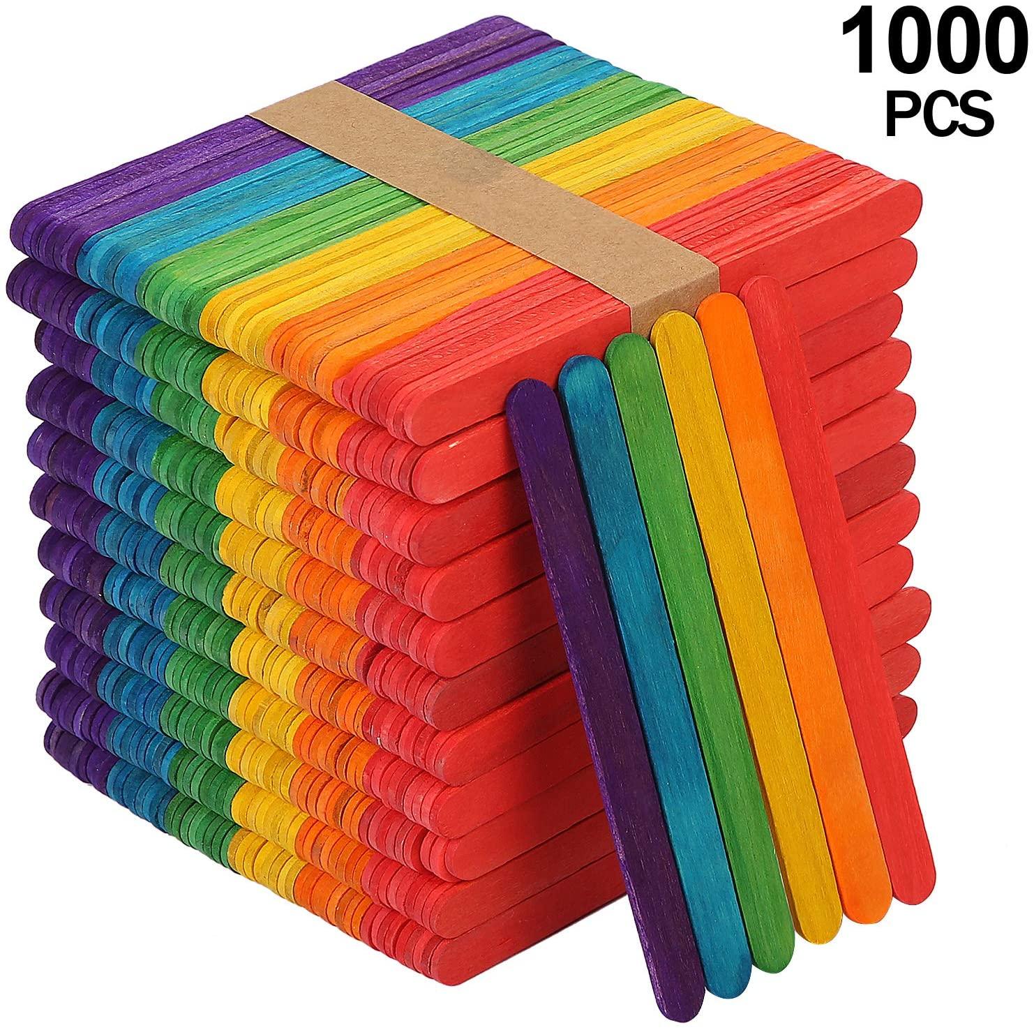 KEILEOHO 1000 PCS Colored Popsicle Sticks, Natural Lollipop Sticks Jumbo Wooden Lolly Sticks for Craft Homemade DIY Model Making Design Kids Education Adults Toys