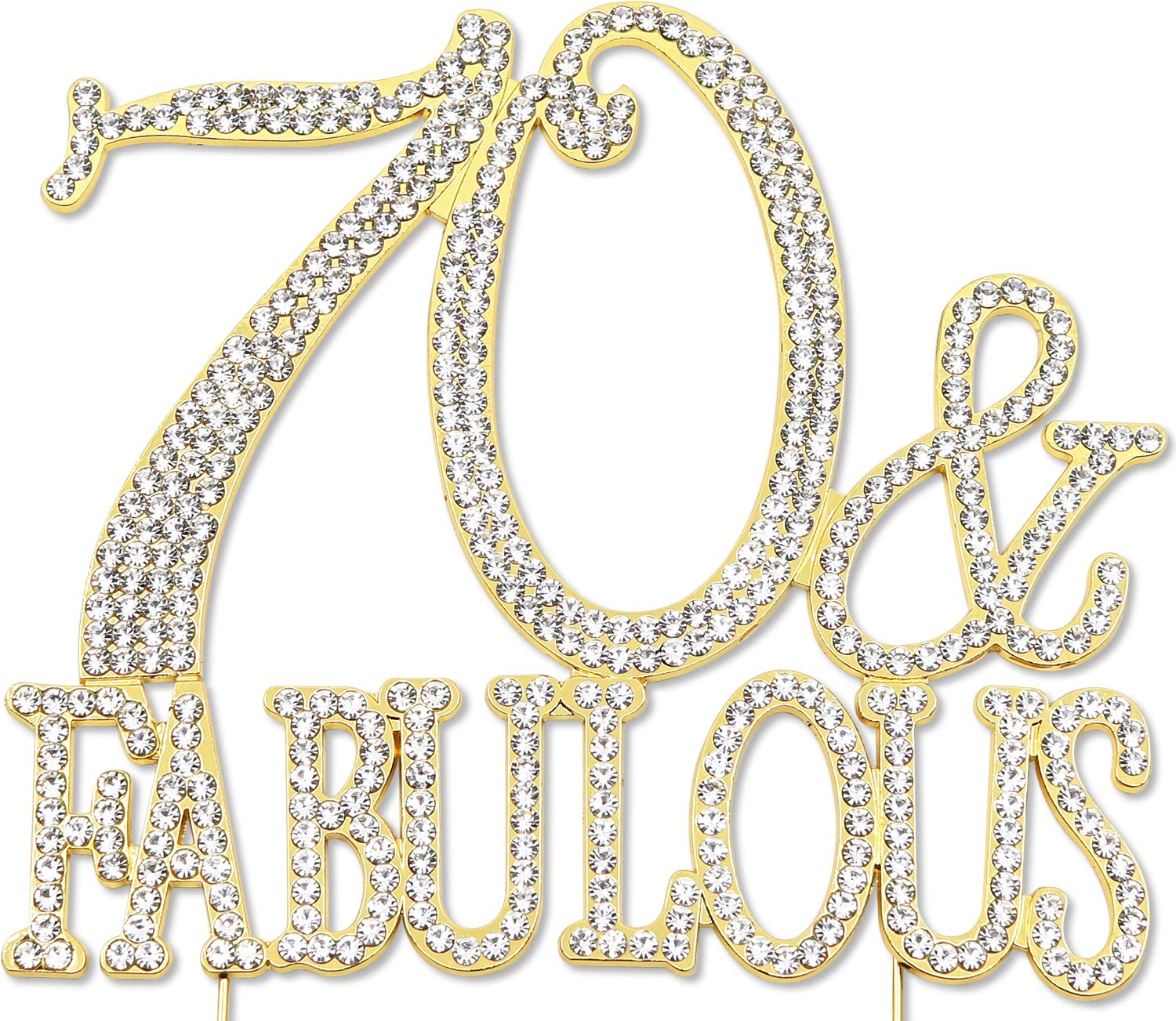 70 and Fabulous - 70th Birthday Cake Topper, Crystal Rhinestone Gold