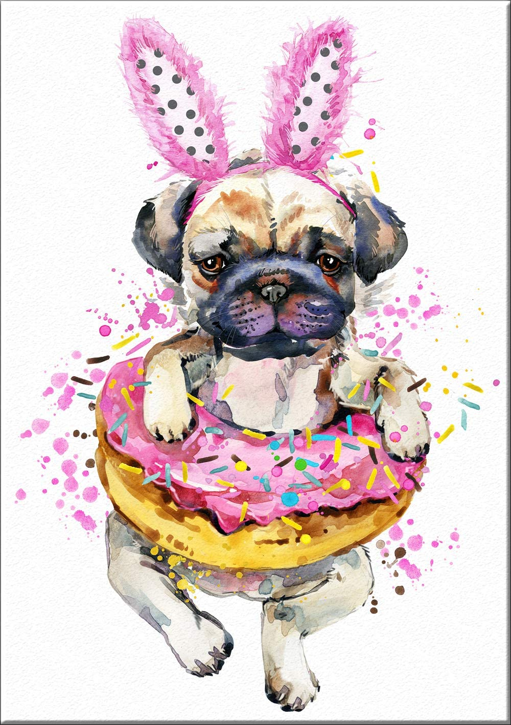 7Dots Art. Fun Popcorn, Donuts and Lollipops Dogs. Watercolor Art Print, Poster 8