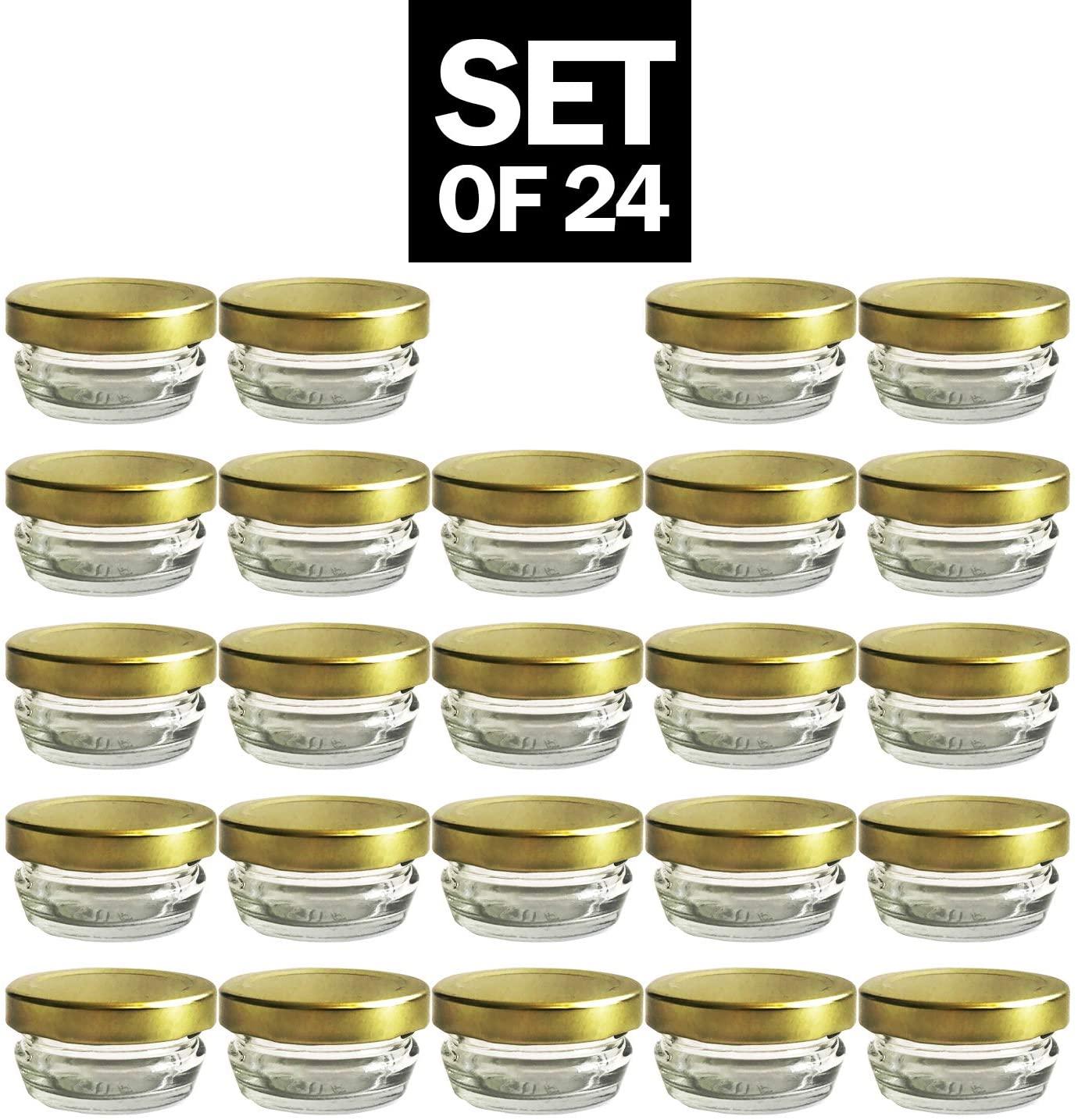 Small Mini Glass Jars With Tin Lids - 24 pack x 1 oz – All Purpose Empty Storage Jars