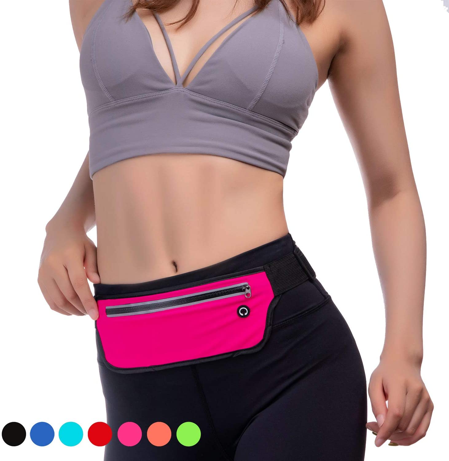 KEGE Multiple Color Slim Reflective Running Belt Fanny Pack, Bounce Free Water Resistant Exercise Workout Pouch Lightweight Waist Pack Gym Phone Holder for All Kinds of Phones