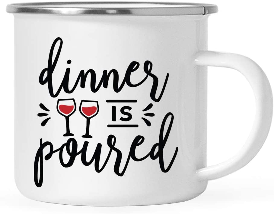 Andaz Press Wine Alcohol Themed 11oz. Stainless Steel Campfire Coffee Mug Gift, Dinner is Poured, 1-Pack, 21st Birthday Christmas Metal Enamel Unbreakable Camping Camp Cup