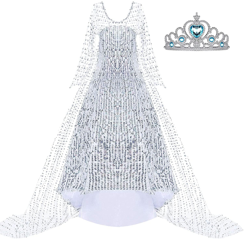 Toyssa Girls Elsa Dress Frozen 2 Princess Costume Sequin Cosplay Halloween Dress Up Party Birthday Gifts