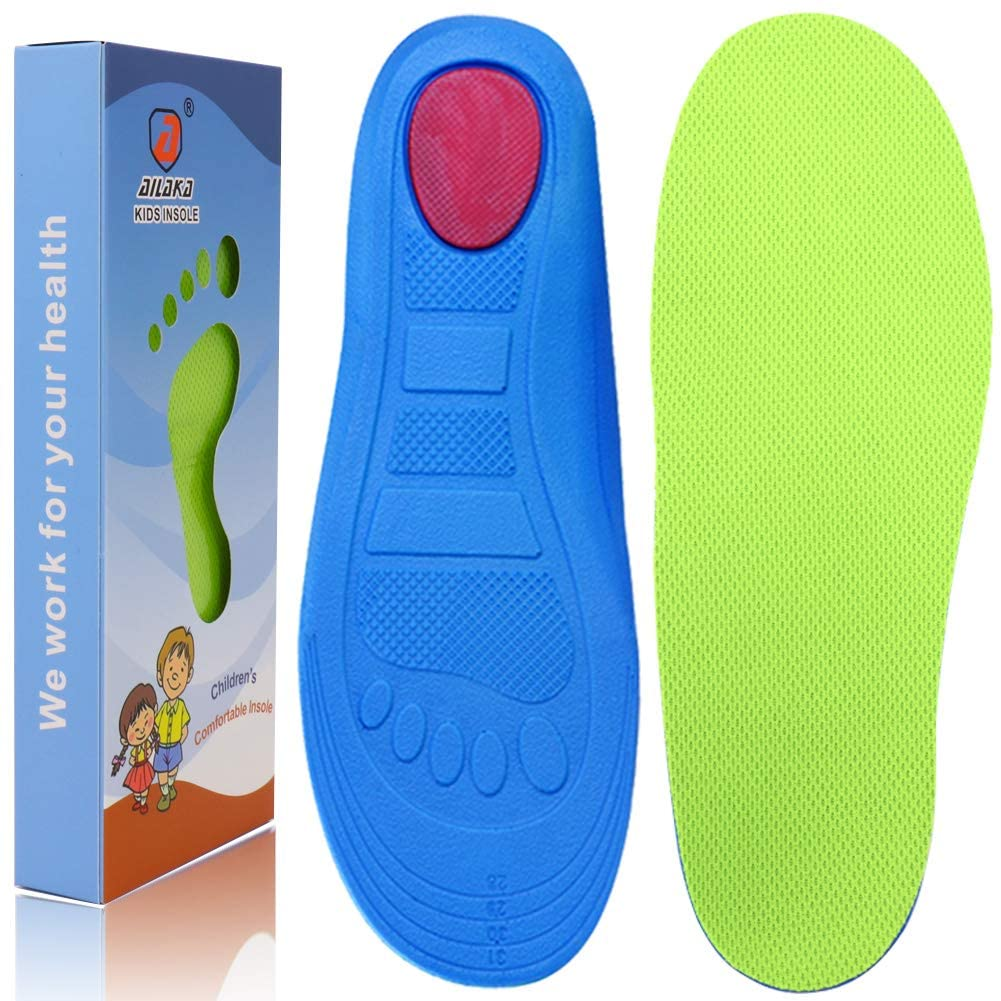 Ailaka Kids Orthotic Athletic Elastic Shock Absorbing Insoles, Comfortable Arch Support Sports Inserts for Running Walking
