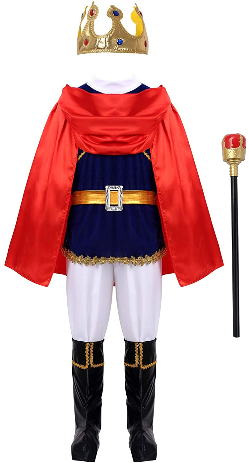 Alvivi Kids Boys Medieval King Prince Costume Halloween Cosplay Party School Role Play Outfits Fancy Dress up
