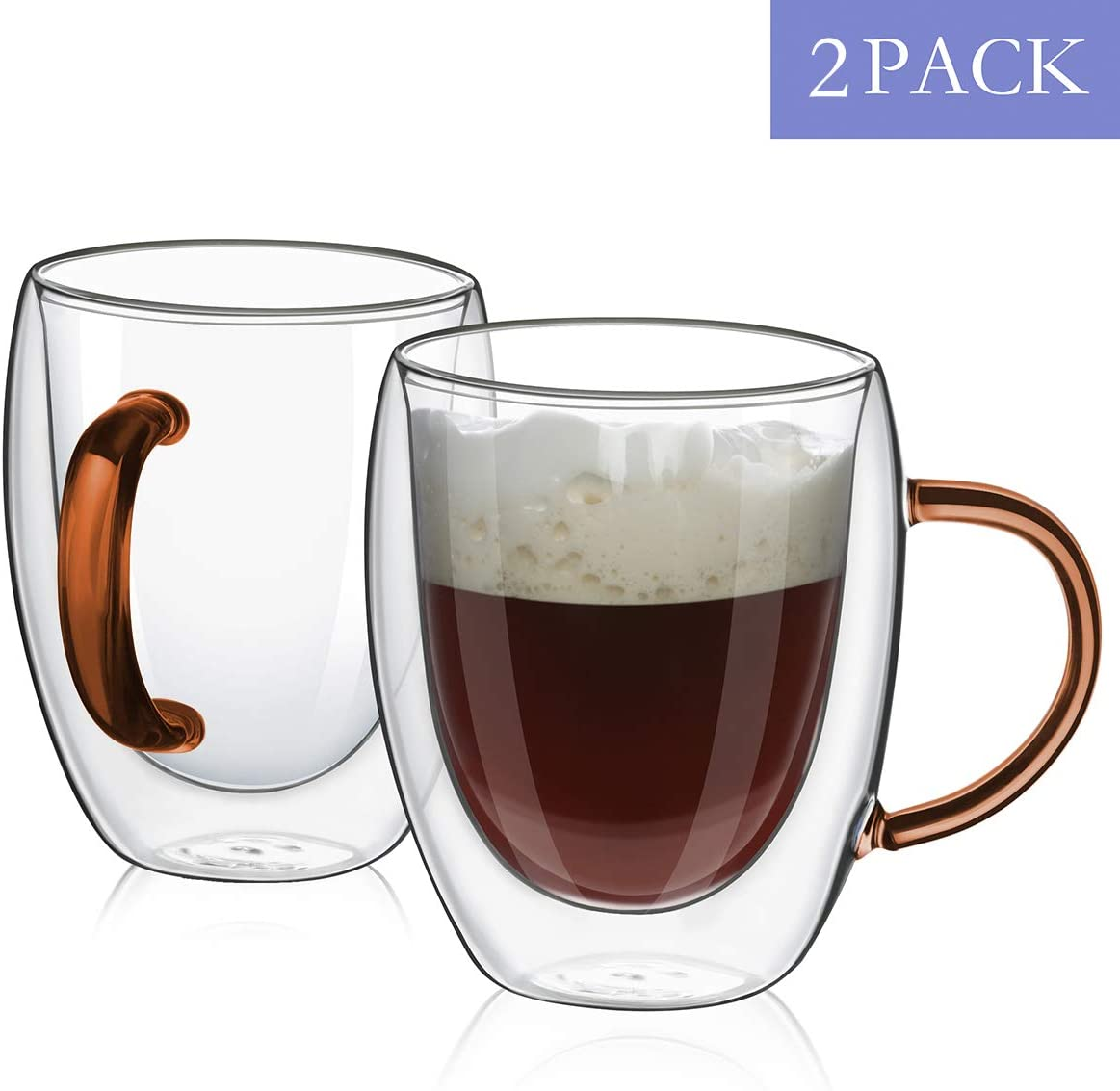 MEWAY 12oz Coffee Mugs, Set of 2, Clear Glass Double Wall Cup with color handle for Coffee, Tea, Latte, Cappuccino (Amber, 2)