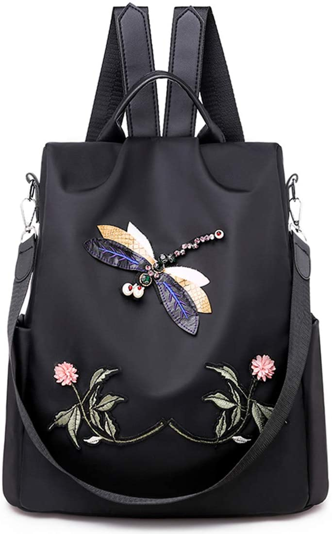 College Student Bookbag Camping Outdoor Backpack Shoulder Bag with Dragonfly Pattern