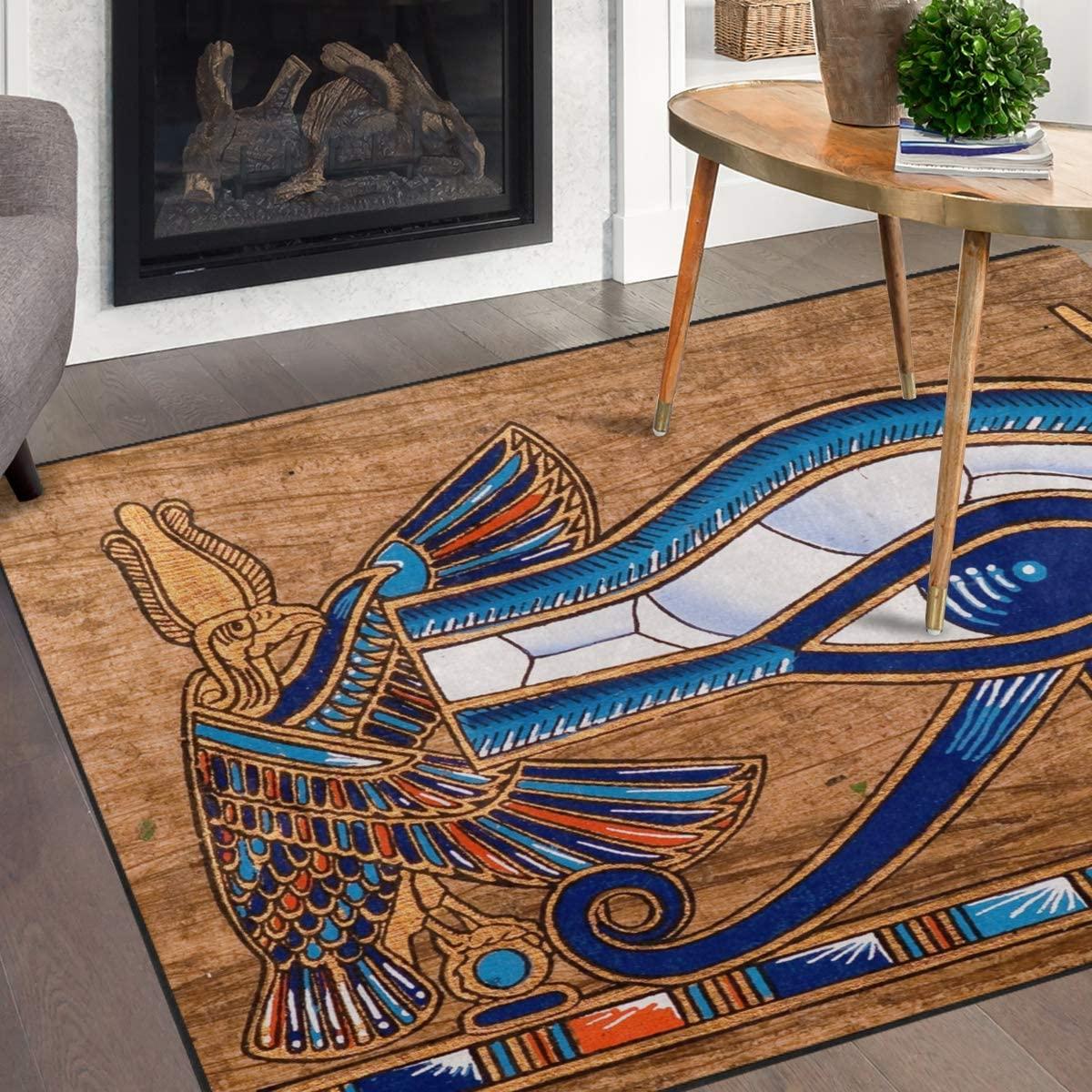 Naanle Egypt Area Rug 5'x7', Egyptian Horus Eye Polyester Area Rug Mat for Living Dining Dorm Room Bedroom Home Decorative