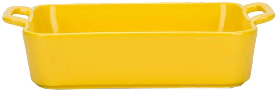 MDZF SWEET HOME Ceramic Baking Dish for Oven Individual Roasting Lasagna Pan Small Casserole Bakeware with Handle Rectangular Dish, Yellow