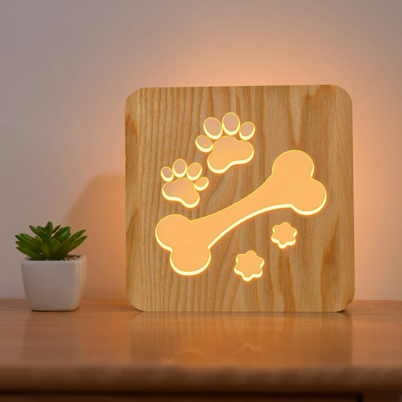 Dog Bone Wood Bedside Lamp,FULLOSUN 3D Illusion Lovely Puppy Night Light, Best Cartoon Hollow Design Bedroom Decor for Children Kids, Animal LED Reading Study Desk Table Light