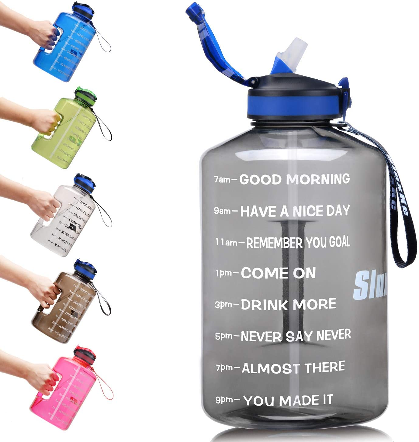 SLUXKE 1 Gallon Water Bottle with Straw and Motivational Time Marker, Large 128OZ Silicone Straw Water Bottle BPA Free Fitness Sports Water Jug to Ensure You Drink Enough Water Throughout The Day