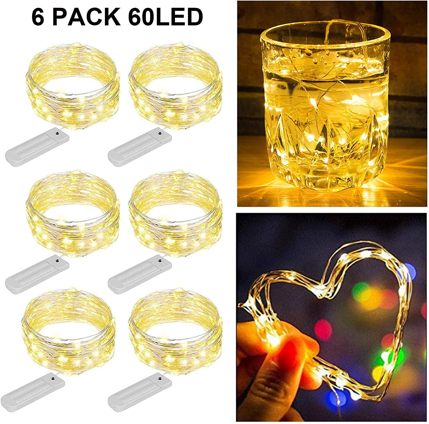 ZNYCYE 6 Pack 10 Feet 60 Led Fairy Lights Battery Operated String Lights with 8 Modes (No Timer) Waterproof Copper Wire Mini Lights for DIY, Wedding, Bedroom, Craft Decoration (Warm White)
