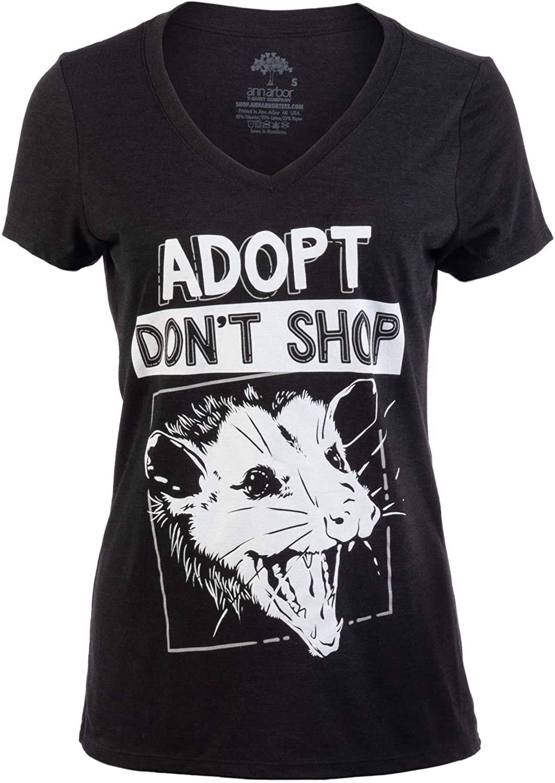 Adopt, Don't Shop Screaming Opposum | Funny Sarcastic Saying Phrase Women V-Neck T-Shirt