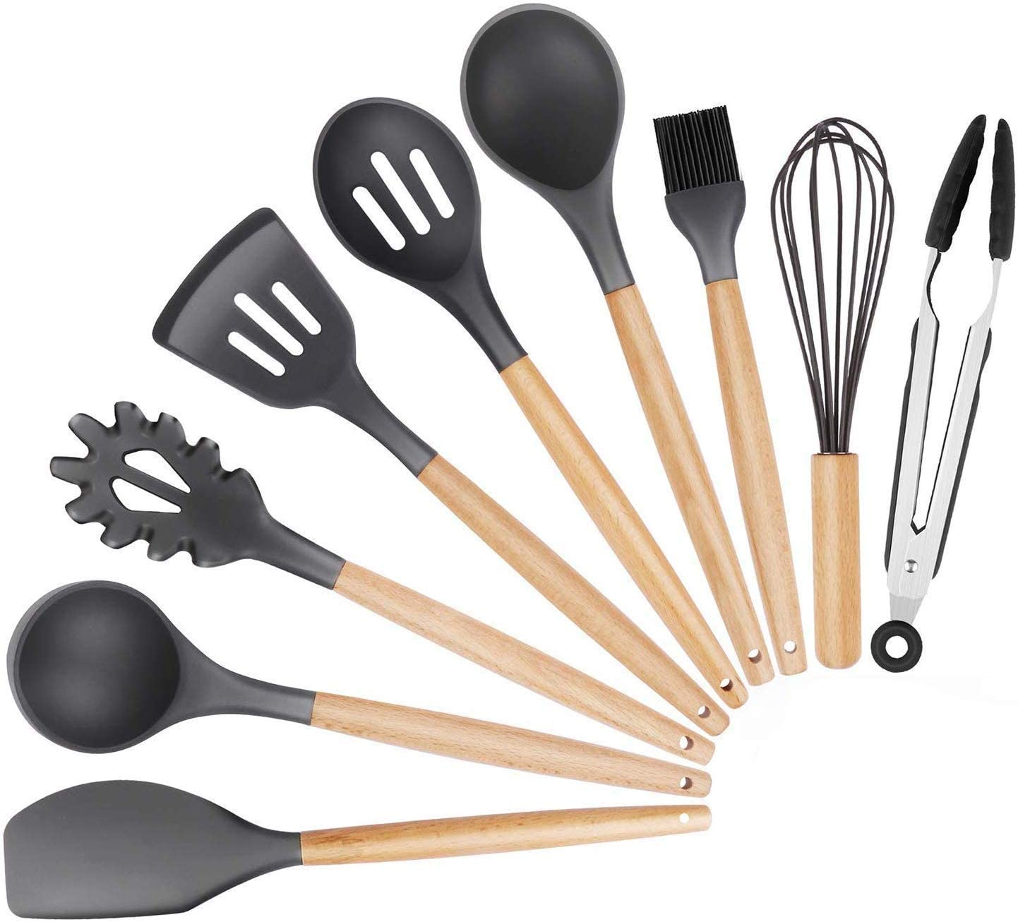 Xiaoai Silicone Kitchen Cooking Utensil Set - 9 Pieces Natural Wooden Handles Cooking Tools Turner Tongs Spatula Spoon for Nonstick Cookware (Black)