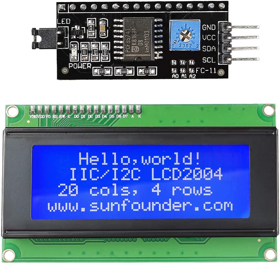 SunFounder IIC I2C TWI Serial 2004 20x4 LCD Module Shield for Arduino R3 Mega2560