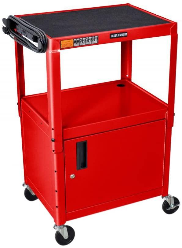LUXOR AVJ42C-RD Steel Adjustable AV Cart with Cabinet, Red