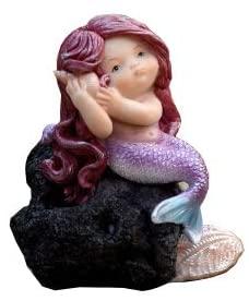 Gemmia Garden Mermaid Fairy Figurine- Listening Mermaid on Reef