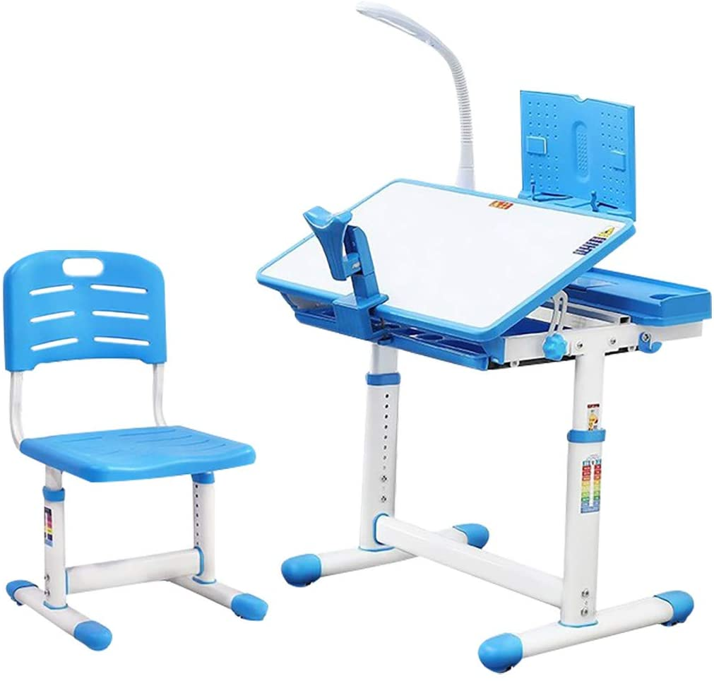 KAIXLIONLY Children's Study Table Chair Set Plastic Work Table Can Be Raised And Lowered Adjustable Height For Children Aged 3-18 Kids Study Desk And Chair Set With Book Stand LED Light (Blue)
