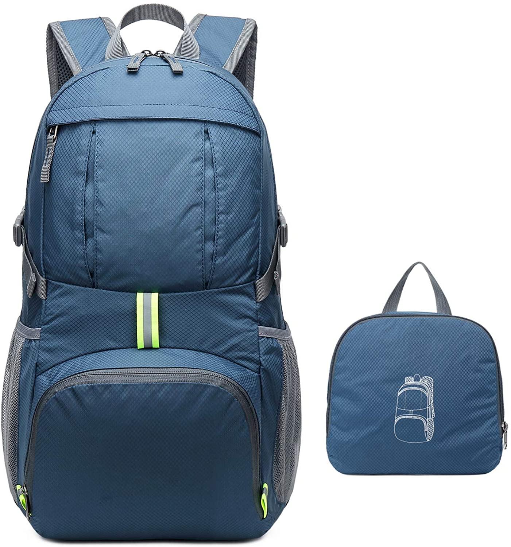 Homfu Foldable Backpack For Travel Packable Daypack For Hiking Camping Waterproof Lightweight Bag Black
