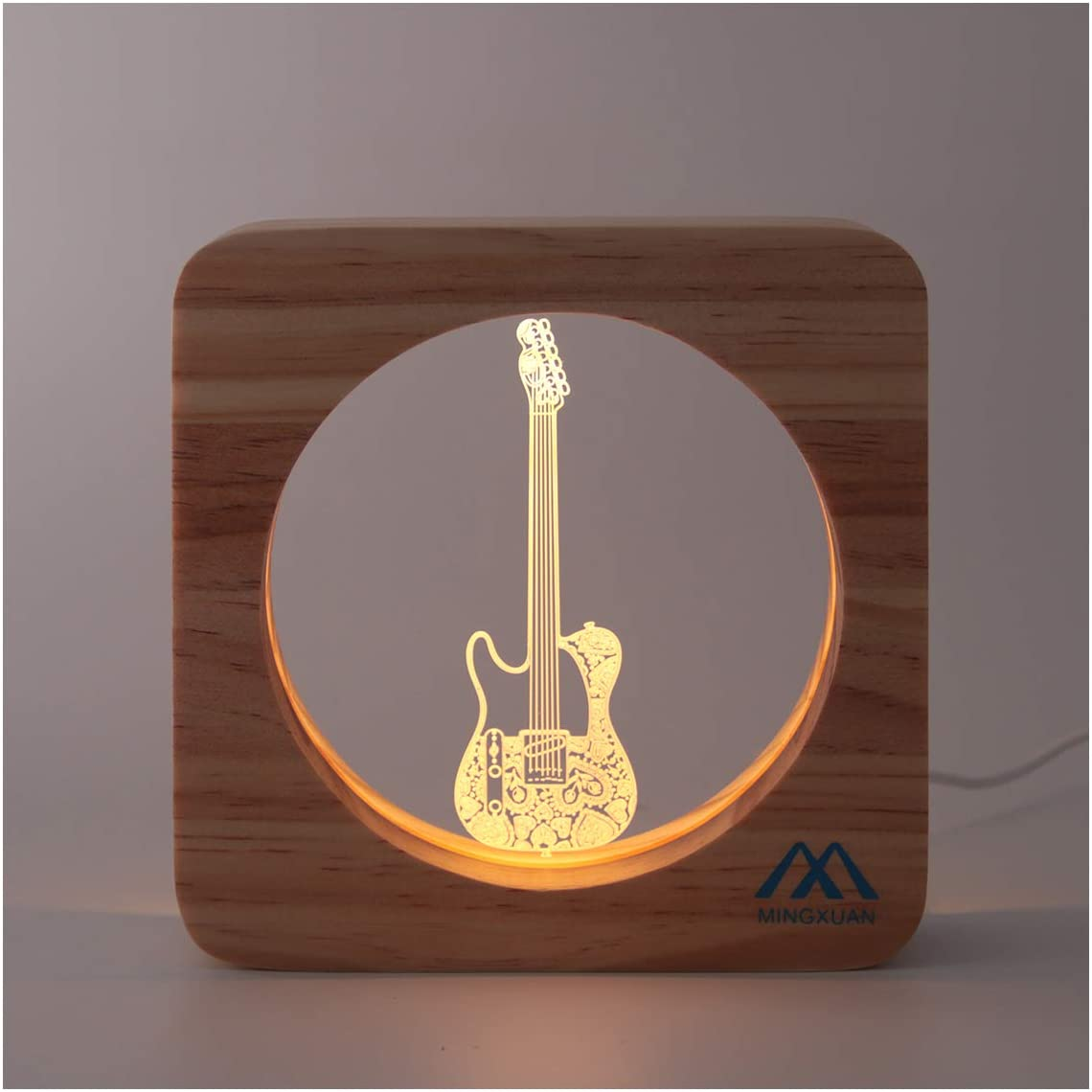 Creative Cute 3D Night Light Electric Guitar Wooded Frame USB Power Warm White Light Baby Room Bed Lights Kids Room Nursery Decorative Night Lamp Kids Girls Boy Adult Gift
