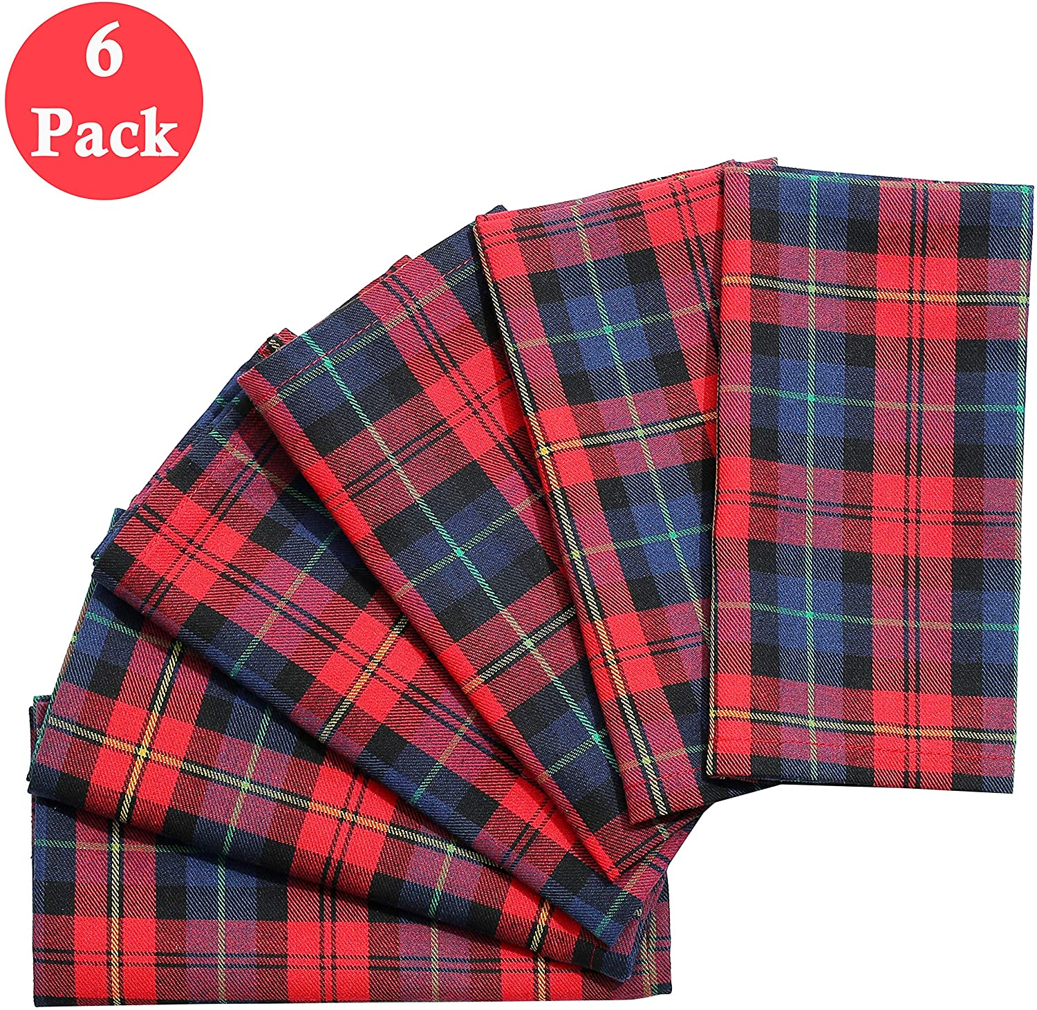BETTERLINE 6 Plaid Tartan Oversized Napkins (17x17 Inches) for Everyday Place Settings, Rustic Farmhouse Decor, Christmas, Thanksgiving Dinner, Holidays, Family Dinners and BBQ's (Red Tartan Plaid)