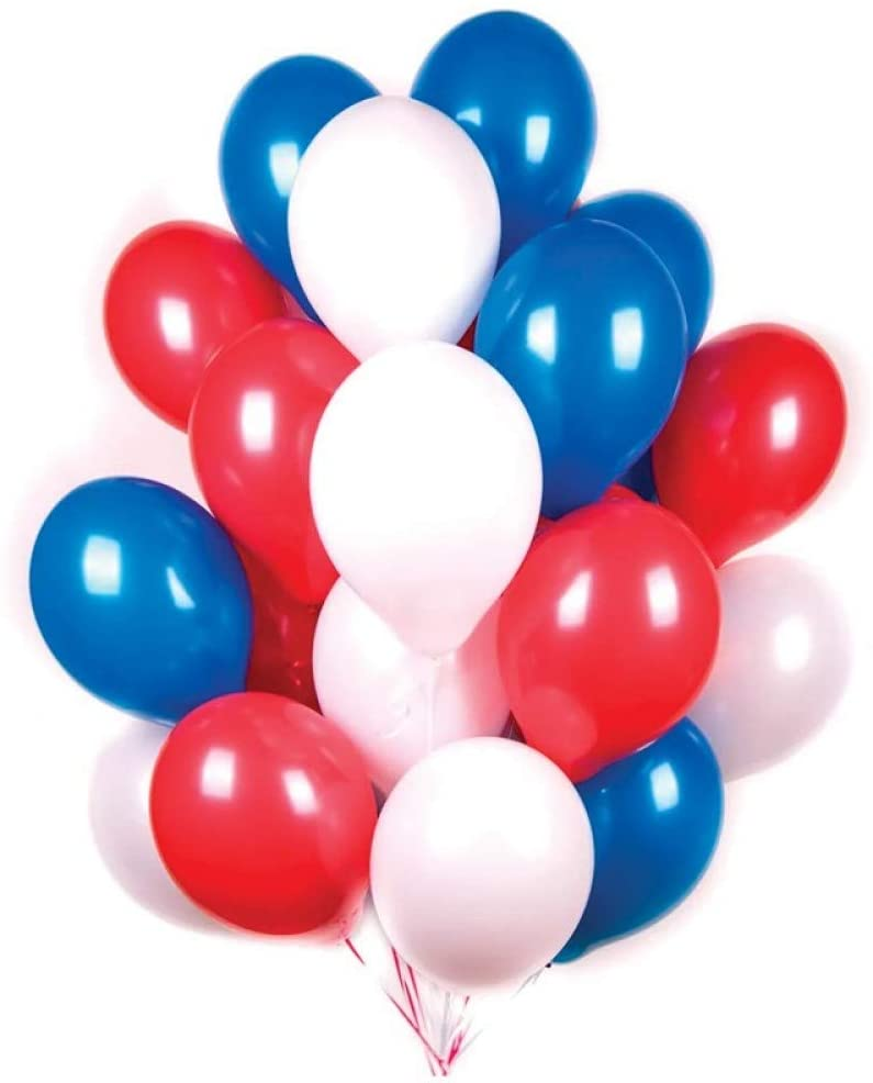 60pcs 12inch Deep Blue White and Red Latex Balloon for Birthday Party Decoration Baby Shower Supplies Wedding Ceremony Balloon Arch Balloon Tower Baby Boy Birthday (White Blue red)
