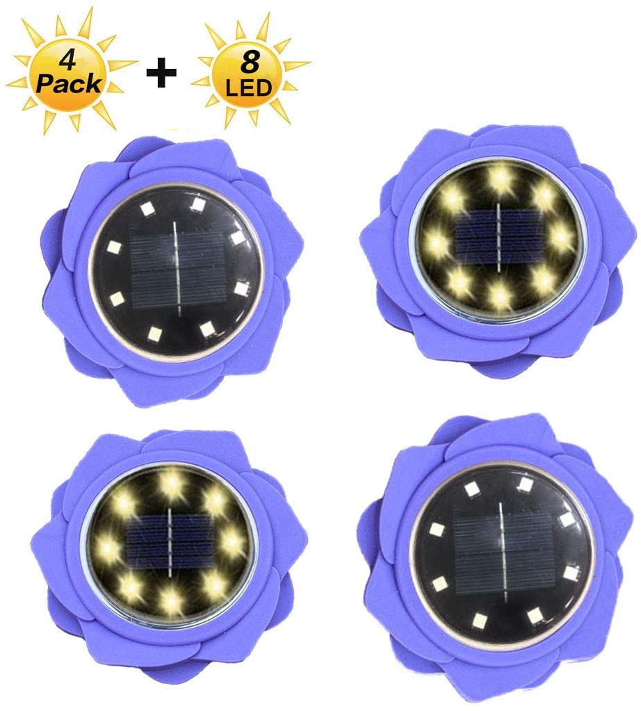 Flower Solar Ground Lights, Warm Solar Pathway Lights 8 LED Waterproof Outdoor Garden Lights Solar Lights Outdoor for Garden Yard Walkway Pool,Auto On/Off (4 Pack) (Warm -Lily)