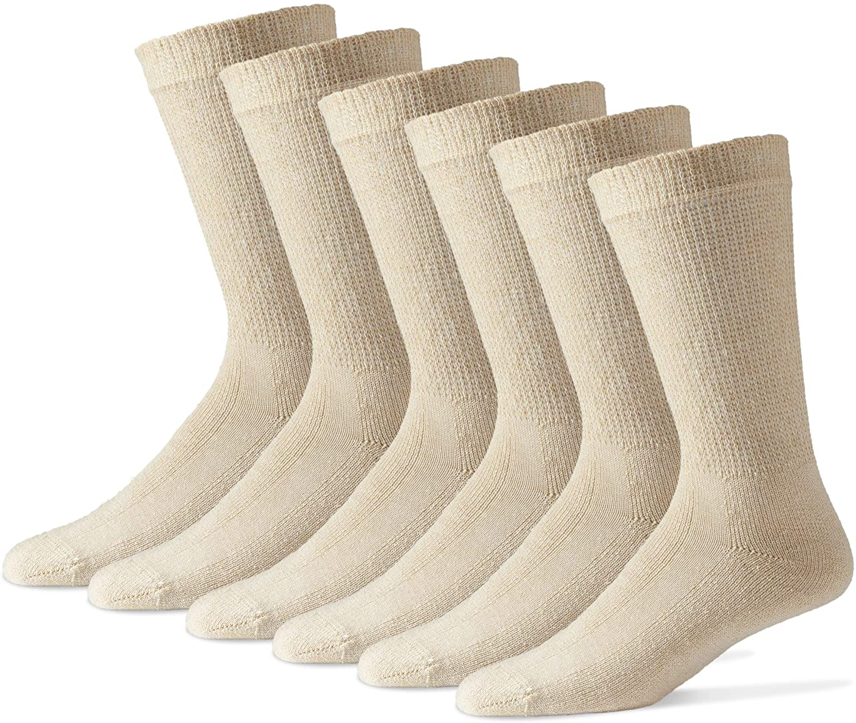 Diabetic Crew Socks for Men - 12 Pack - Tan - Size 10-13