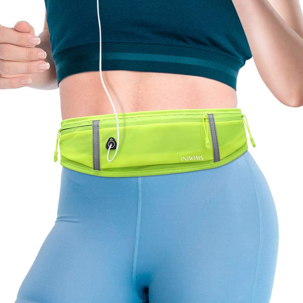 INJWIMS Running Belt, Fanny Pack, Water Resistant Waist Pack, Adjustable Running Belt Pouch for Hiking Fitness Travel, Phone Holder